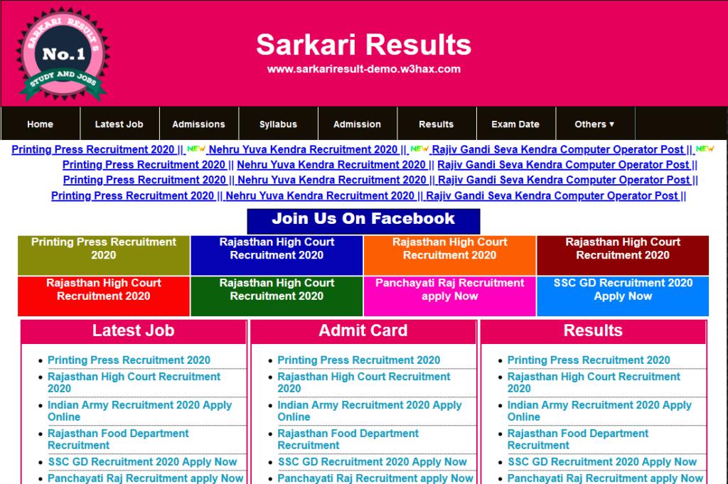 Sarkari Result WordPress Theme
